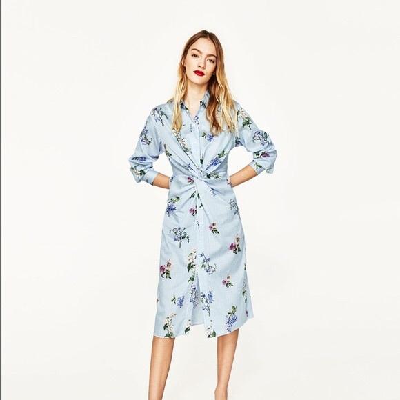 0e14c5e179 Zara floral striped Tunic shirt dress NWT Sz XS